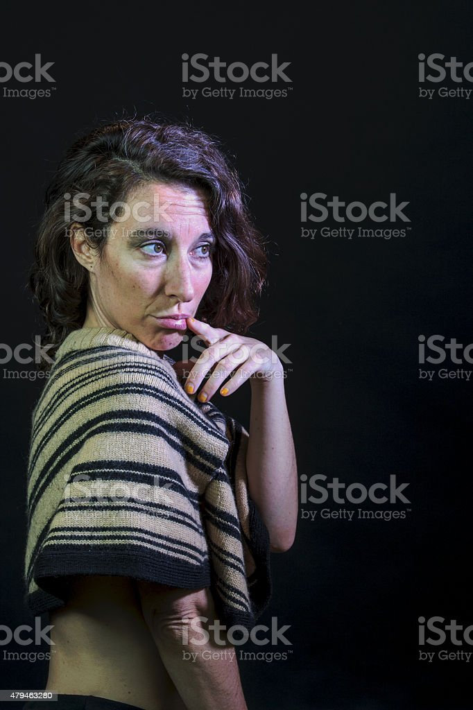 Coy Young Female Adult stock photo