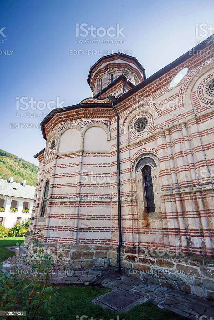 Cozia monastery church with visiting tourists stock photo