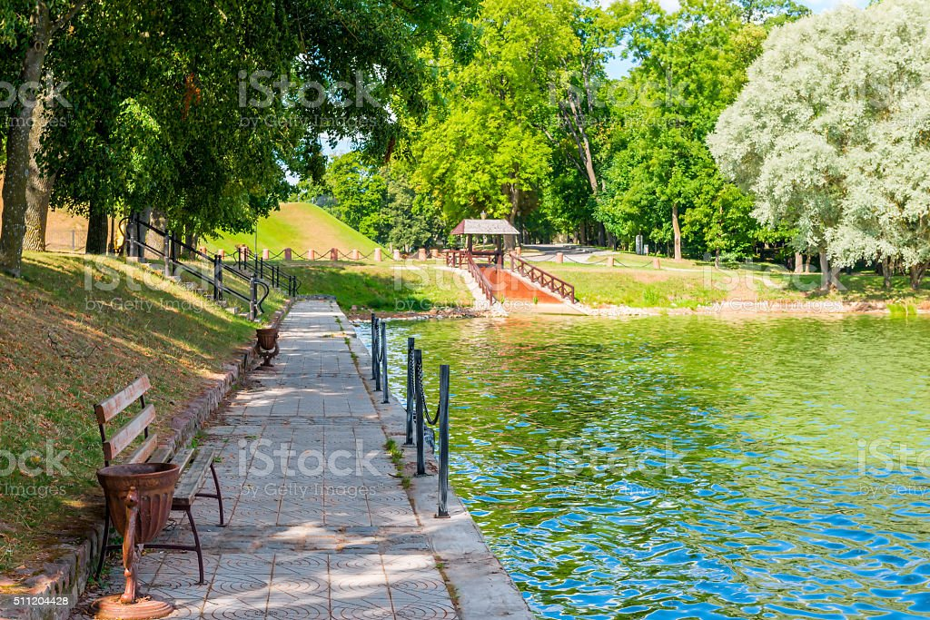 cozy and beautiful place to relax in the park stock photo