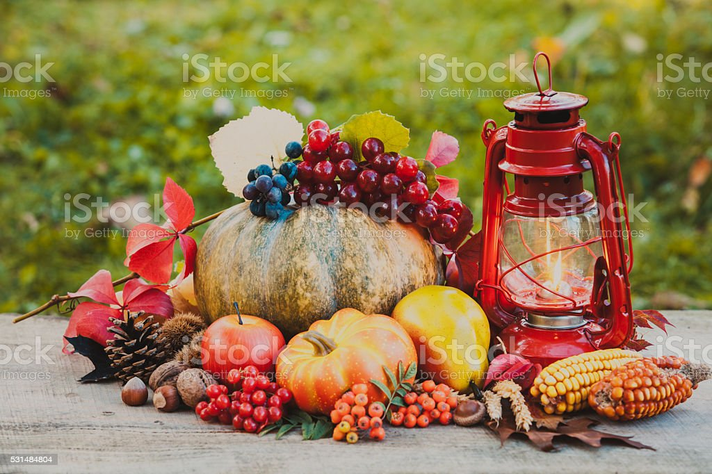Cozy autumn still life stock photo