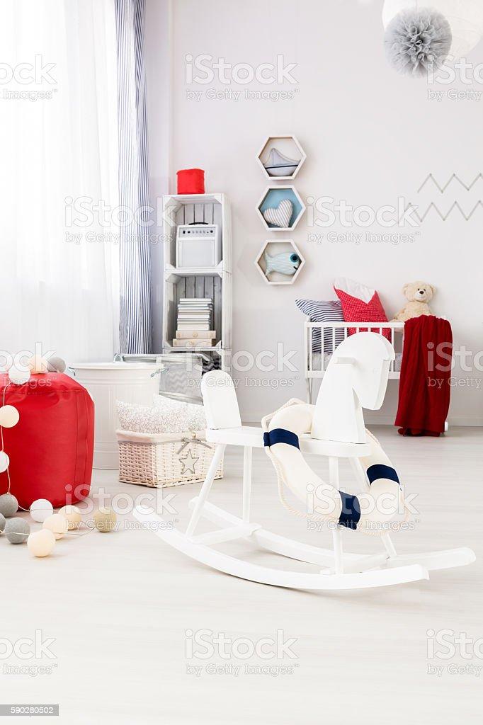 Cozy baby room in marine style stock photo