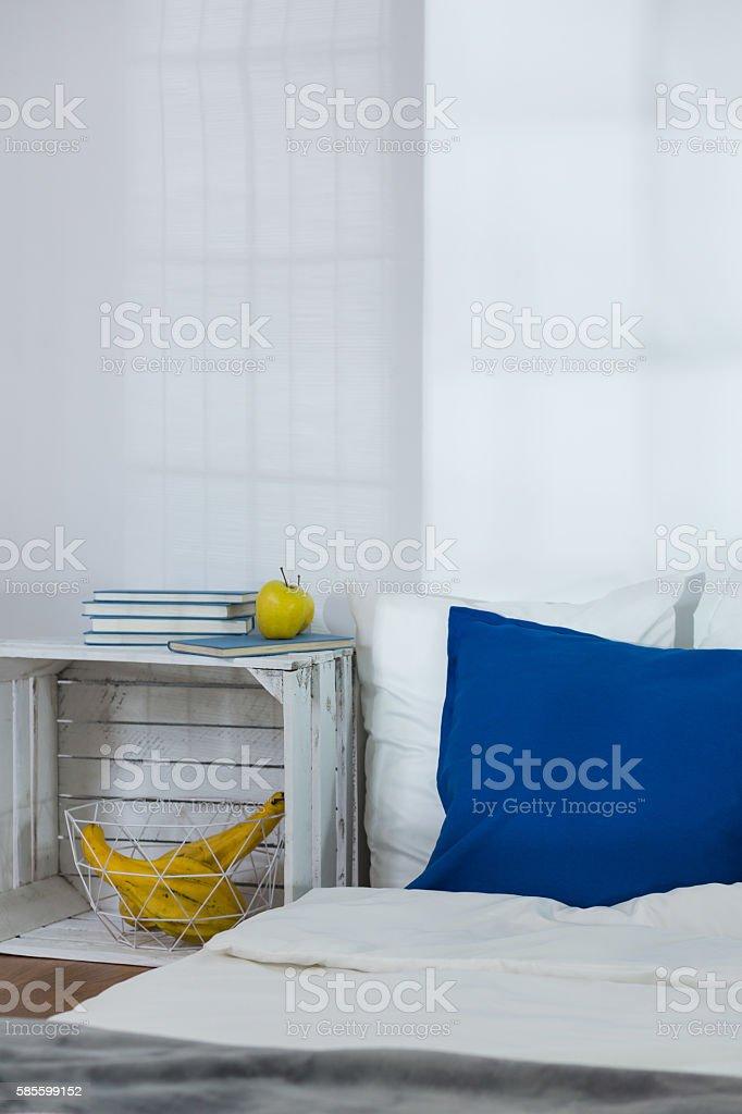 Cozy bedroom in designed scandinavian style stock photo