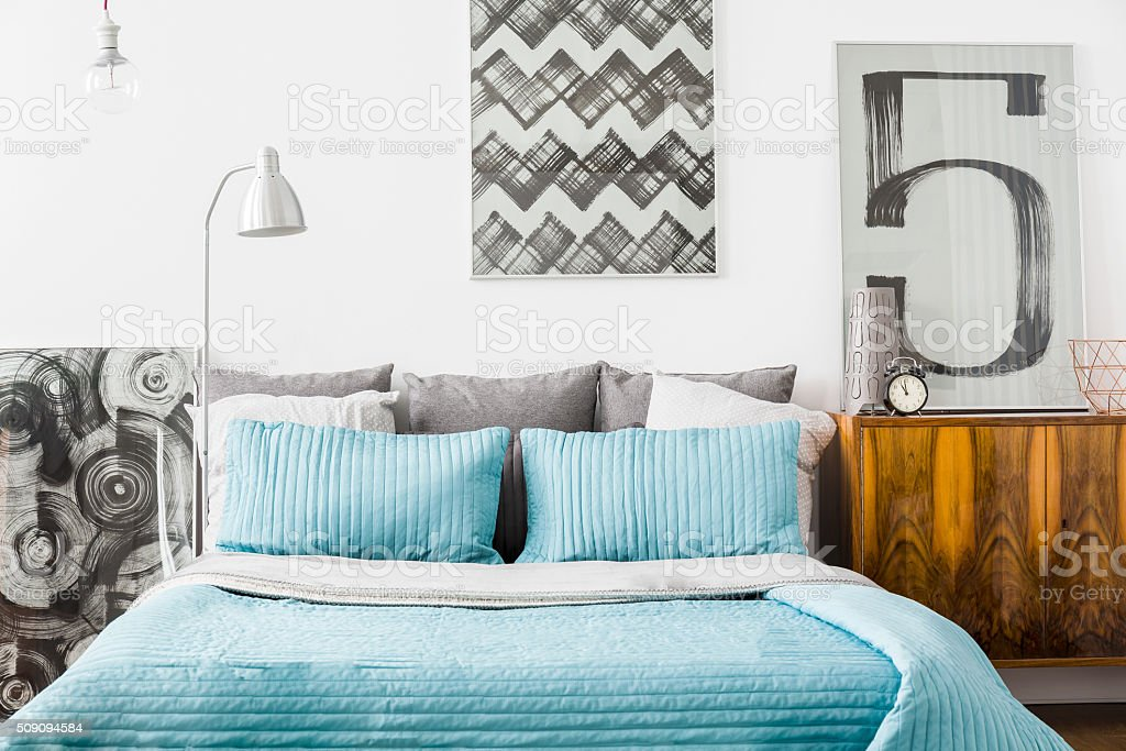 Cozy bedroom with matrimonial bed stock photo