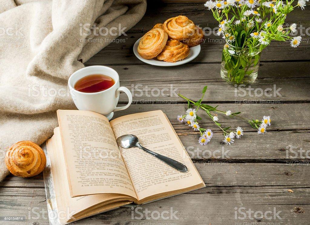 Cozy breakfast with freshly baked rolls stock photo