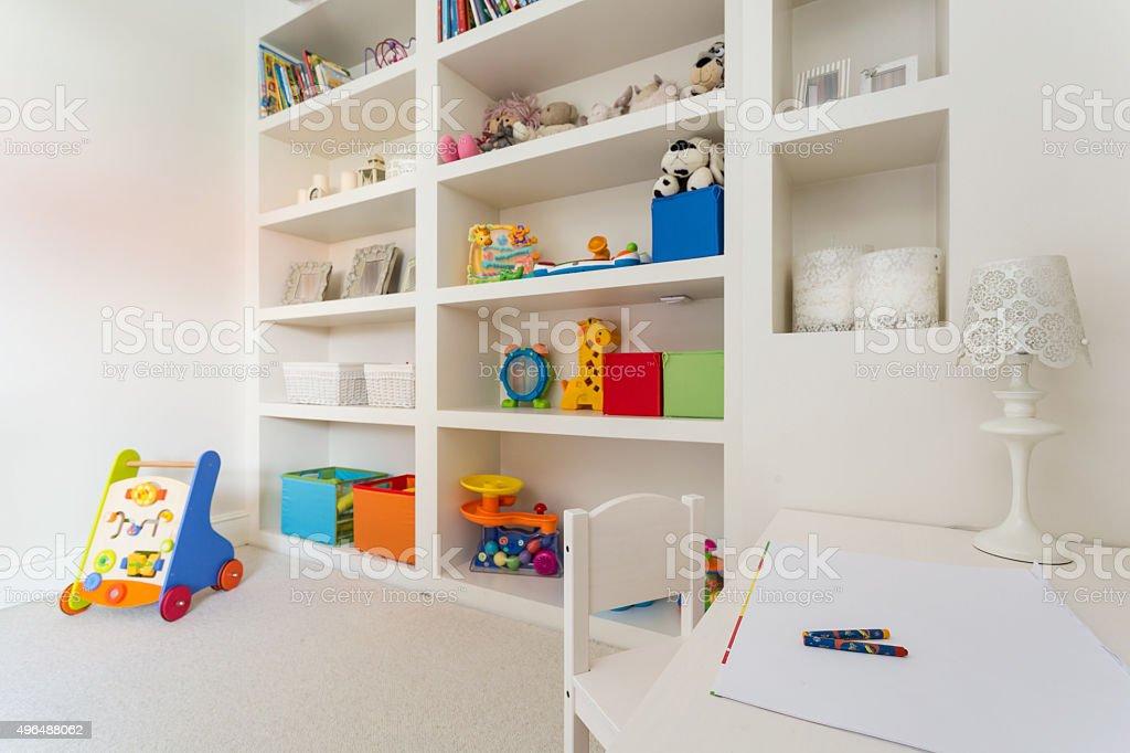 Cozy children's desk stock photo