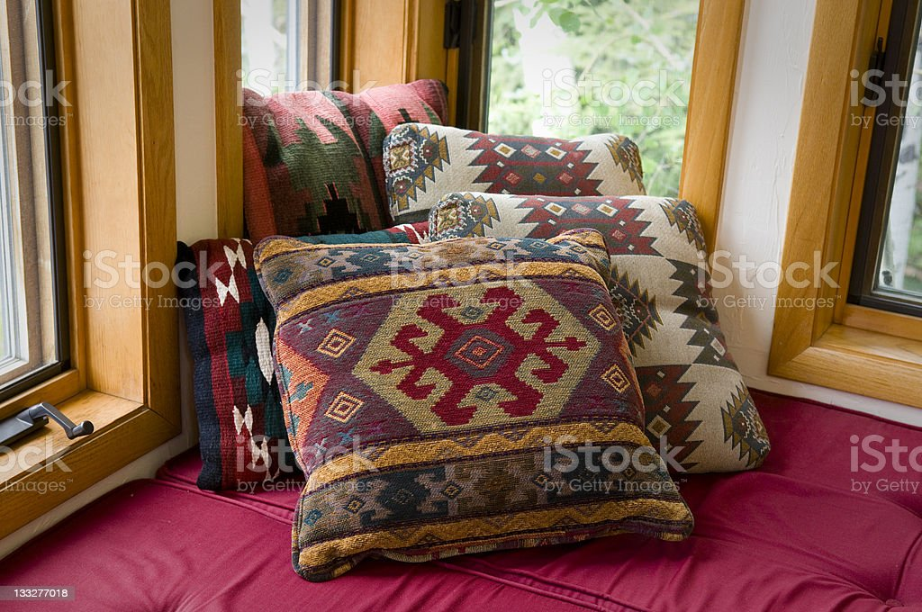 Cozy Comfortable Cushions in Home Nook royalty-free stock photo