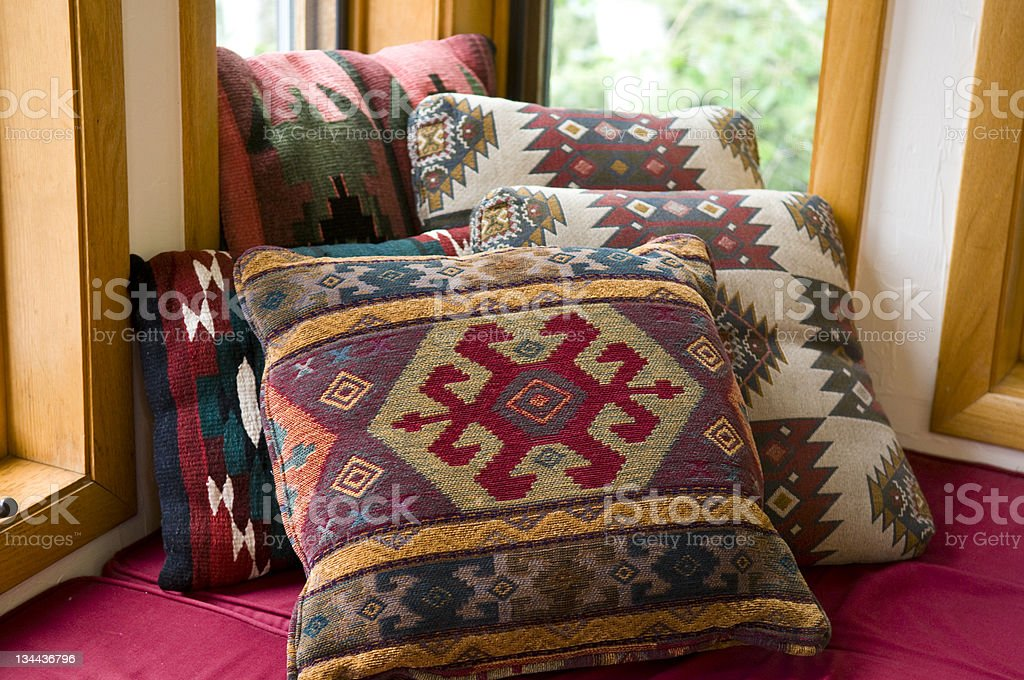 Cozy Comfortable Cushions in Home Nook stock photo