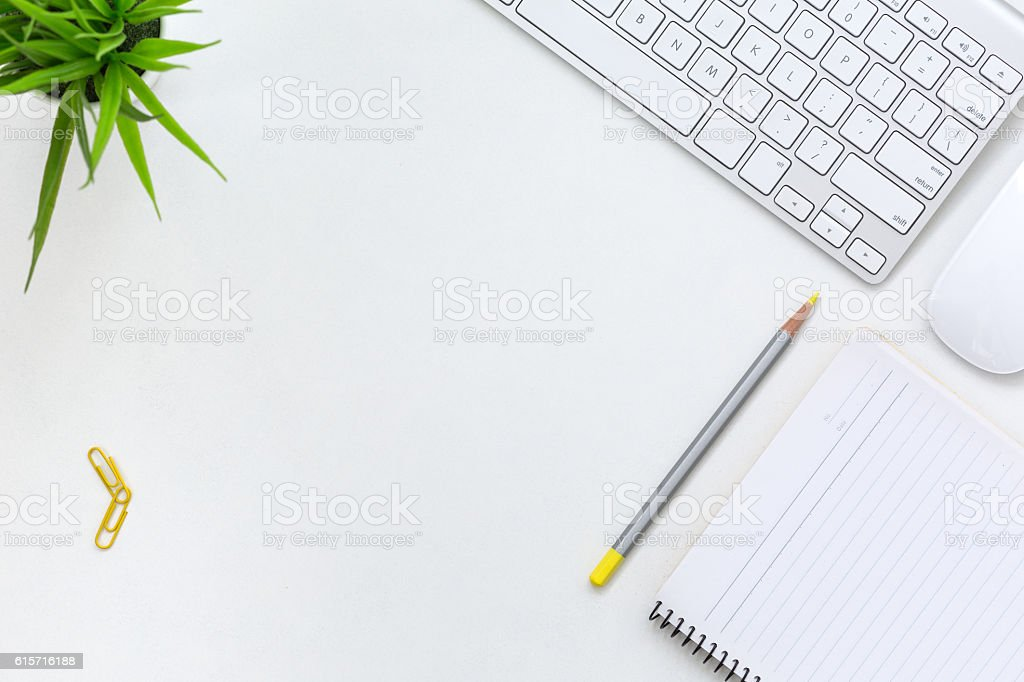 Cozy contemporary Business Theme on white Table with yellow Pencil stock photo