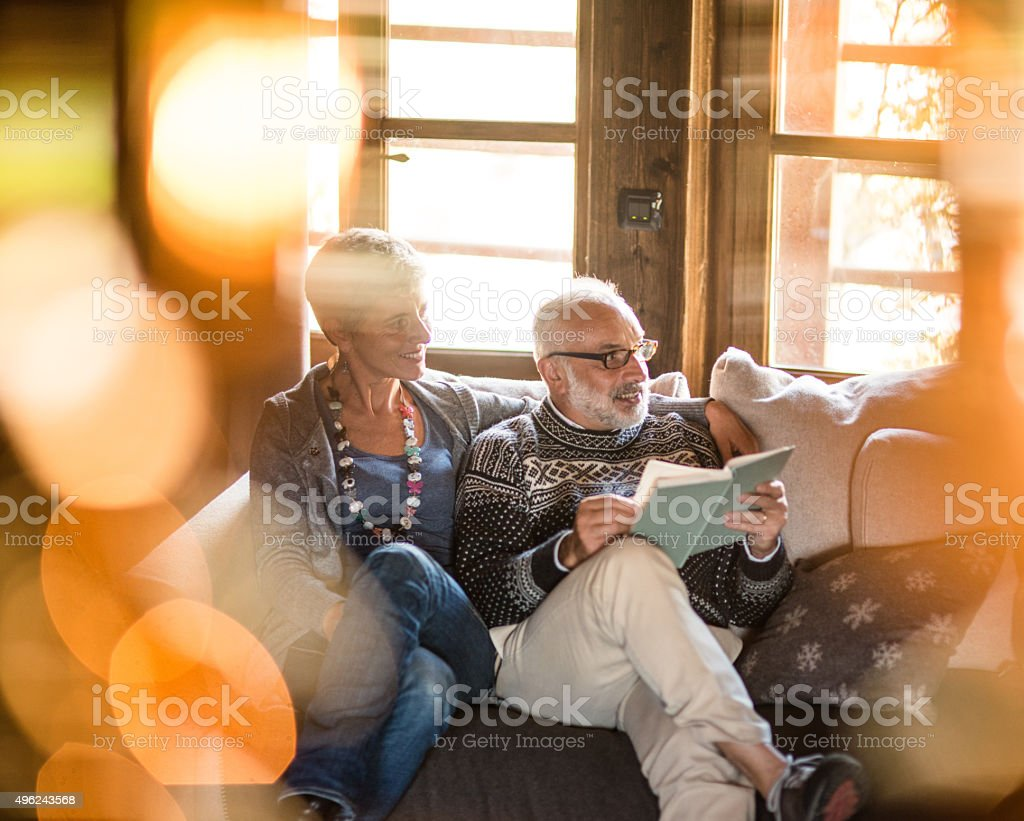 cozy couple on the sofa reading a book for christmas stock photo