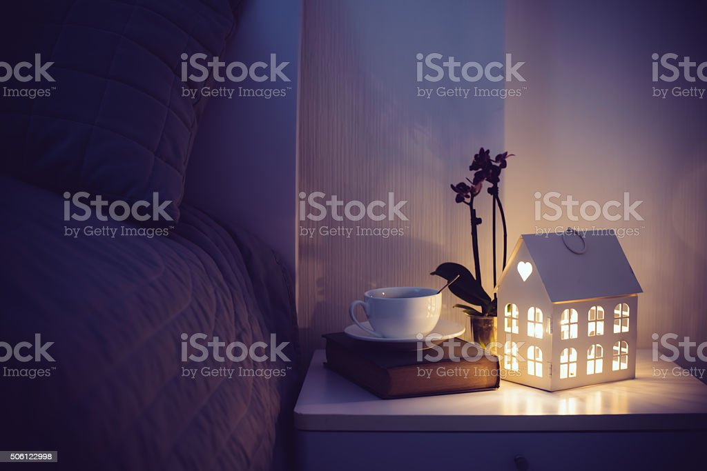 Cozy evening bedroom stock photo