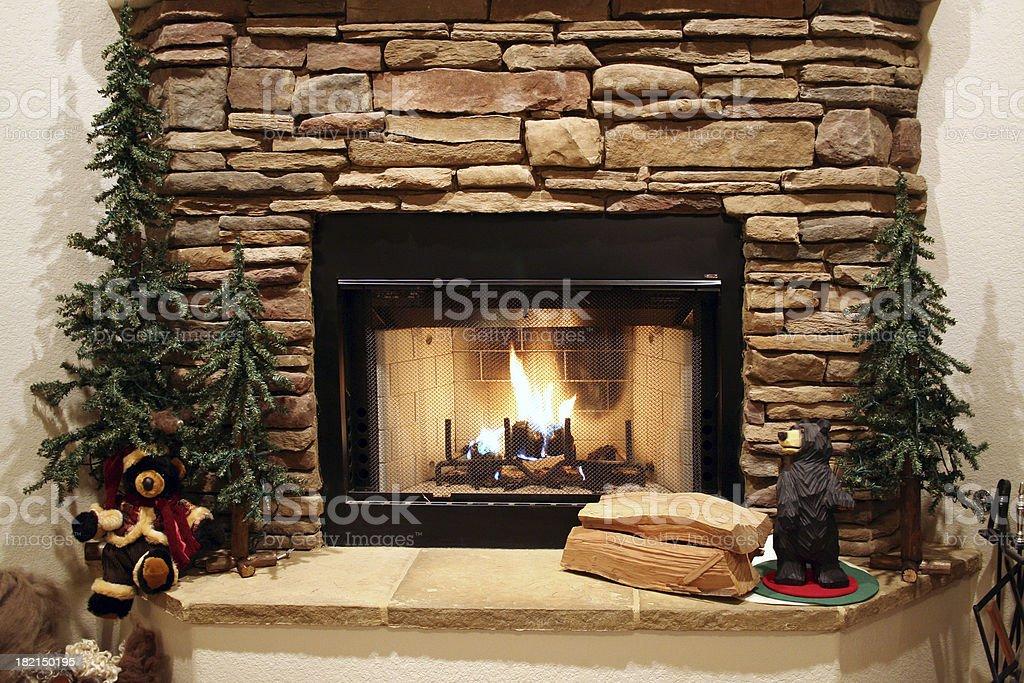 Cozy Fireplace stock photo