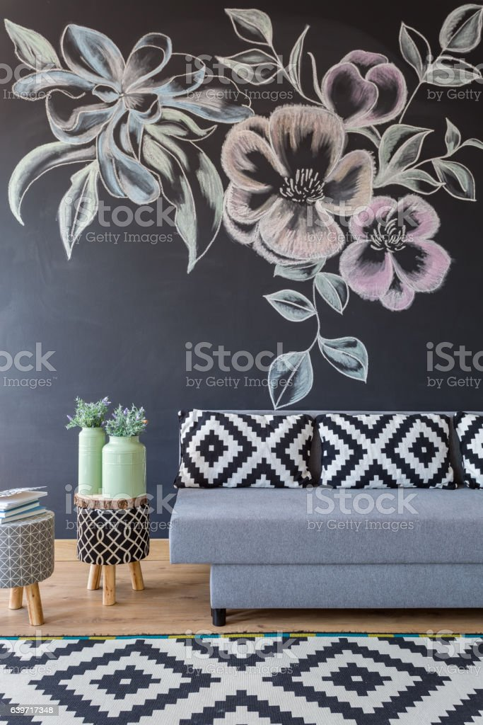 Cozy floral living room stock photo