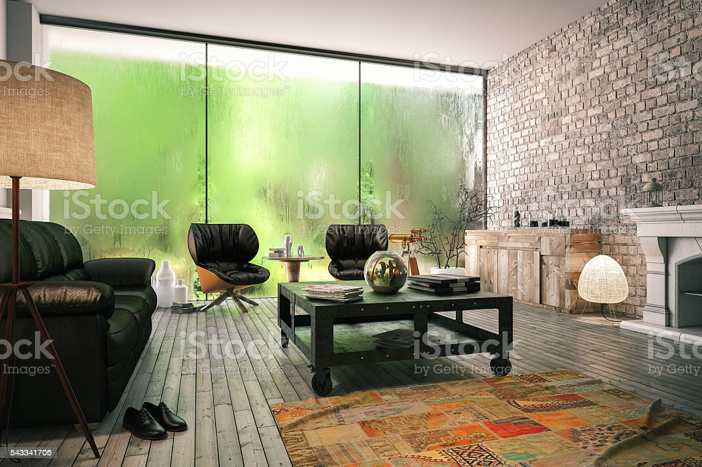Cozy Forest House Interior stock photo
