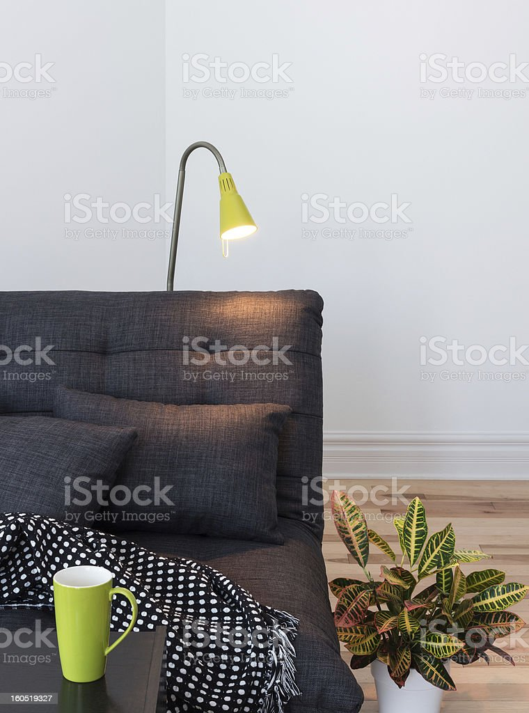 Cozy gray sofa in the living room royalty-free stock photo
