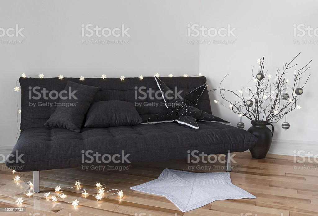 Cozy lights decorating the living room stock photo