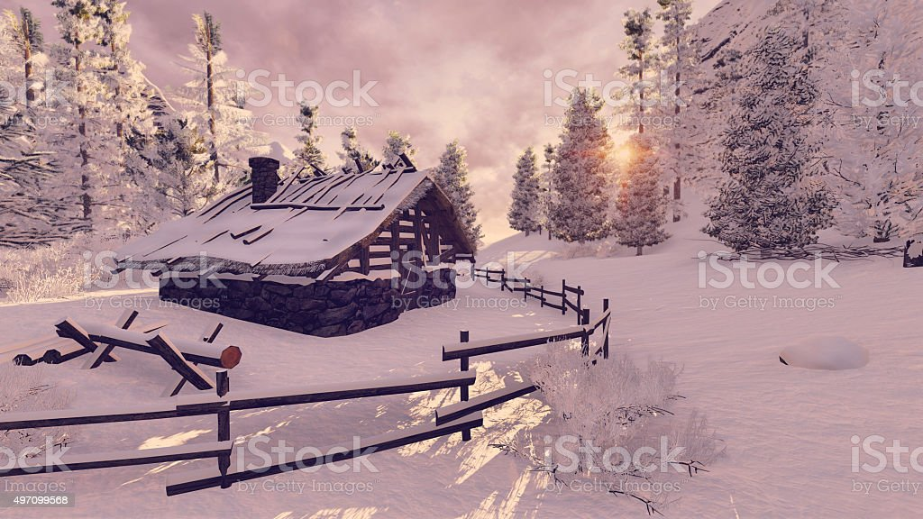 Cozy little hut among snowy firs at sunset stock photo