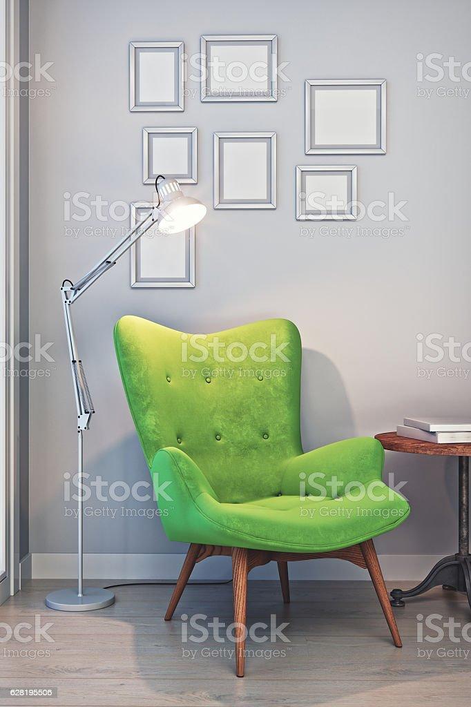Cozy Living Room Reading Corner stock photo