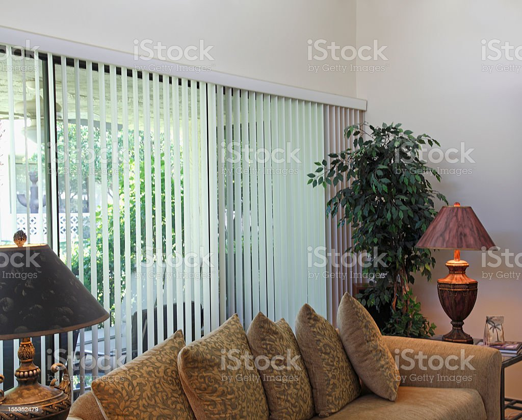 Cozy Living Room Sofa And Outside View stock photo