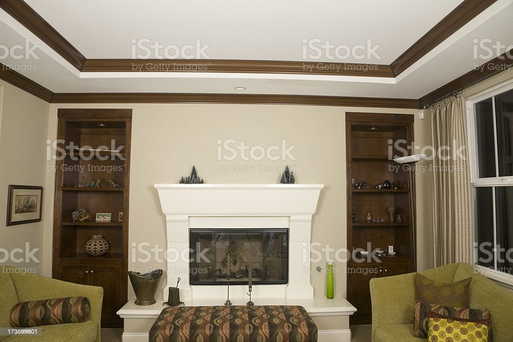 Cozy Living Room With Crown Moulding Ceiling, Architecture, Decorative-Finish royalty-free stock photo