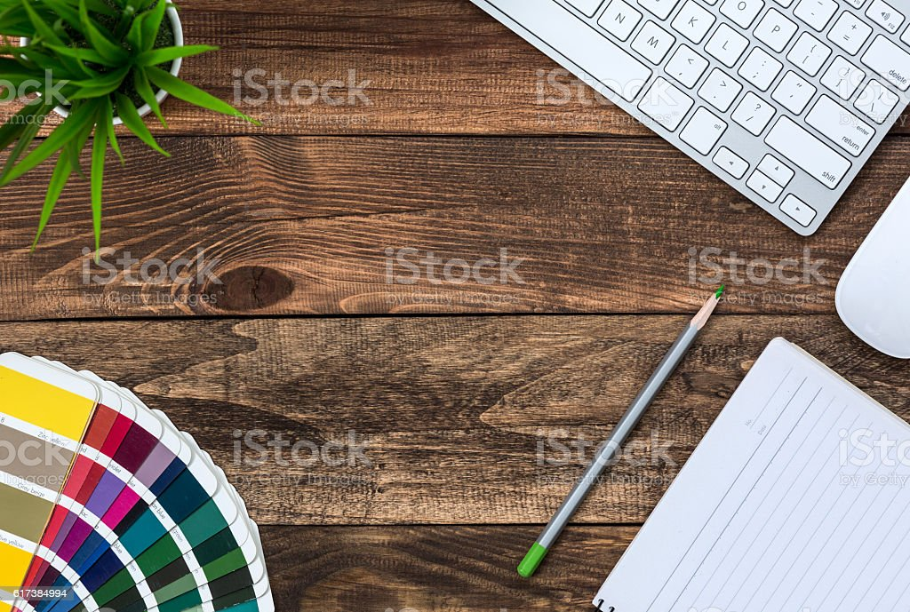 Cozy mix Vintage and Technology Business Theme on wood Table stock photo