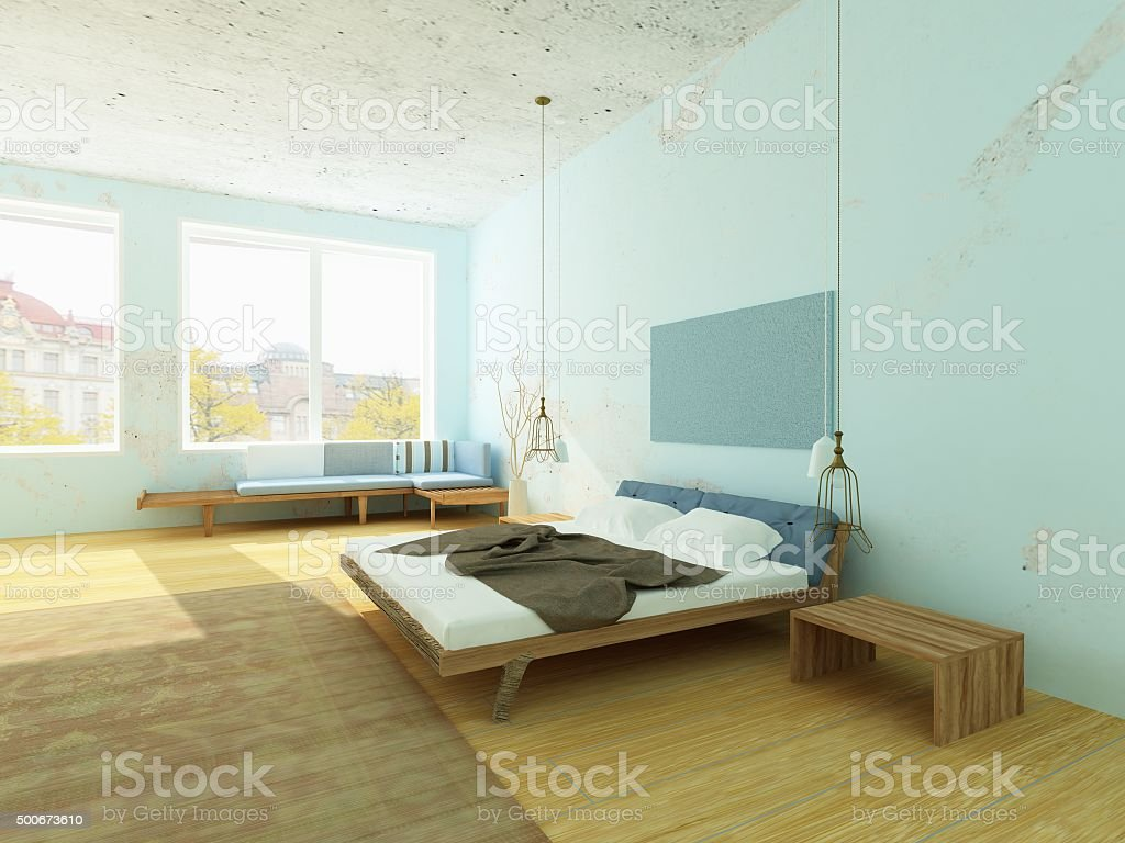 Cozy morning bedroom with blue walls, Scandinavian style. stock photo
