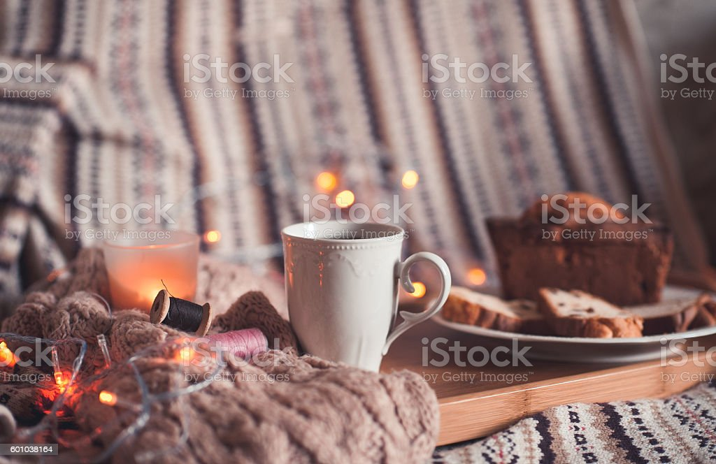 Cozy morning with breakfast stock photo