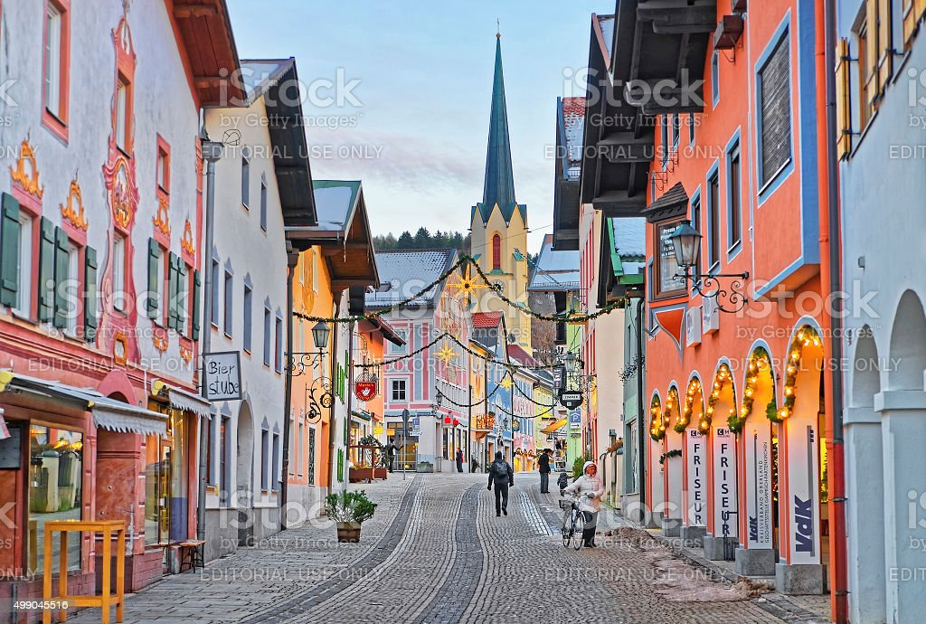 Cozy narrow street of Garmisch-Partenkirchen stock photo