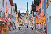 Cozy narrow street of Garmisch-Partenkirchen