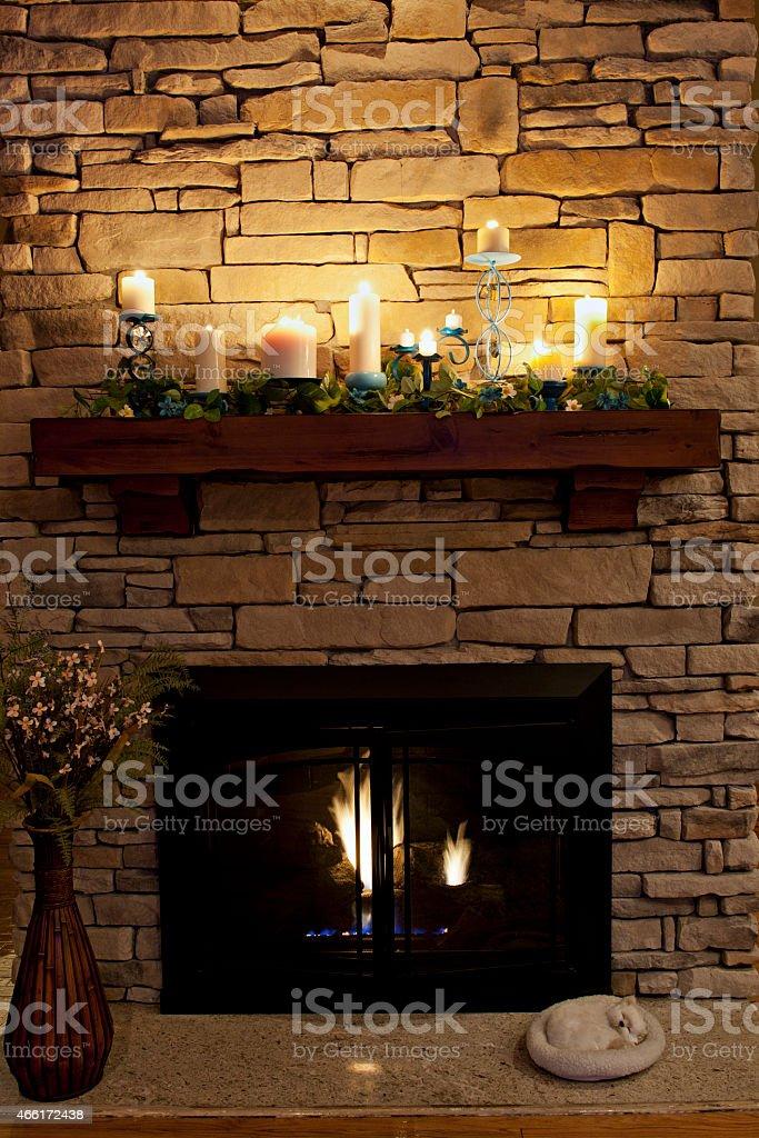 Cozy Nighttime Fireplace stock photo