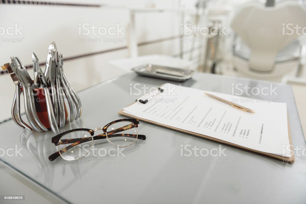Cozy official place of dentist in stomatology stock photo