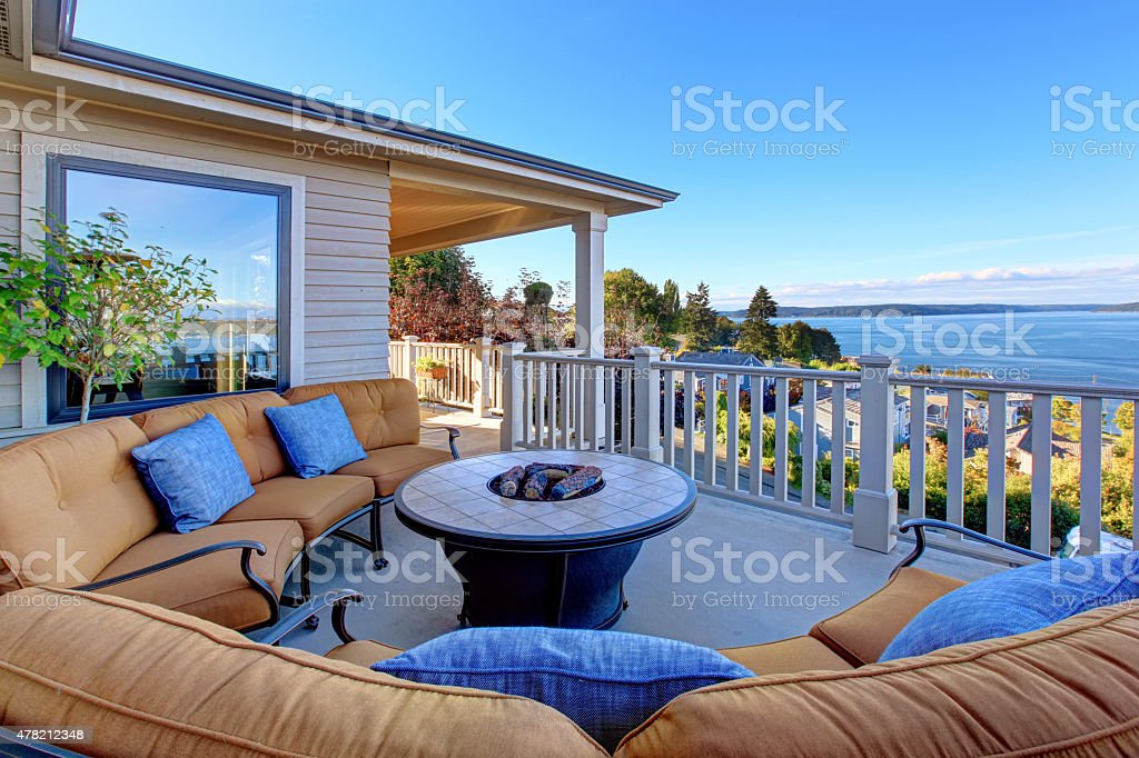 Cozy patio area with Puget Sound view. Tacoma, WA stock photo