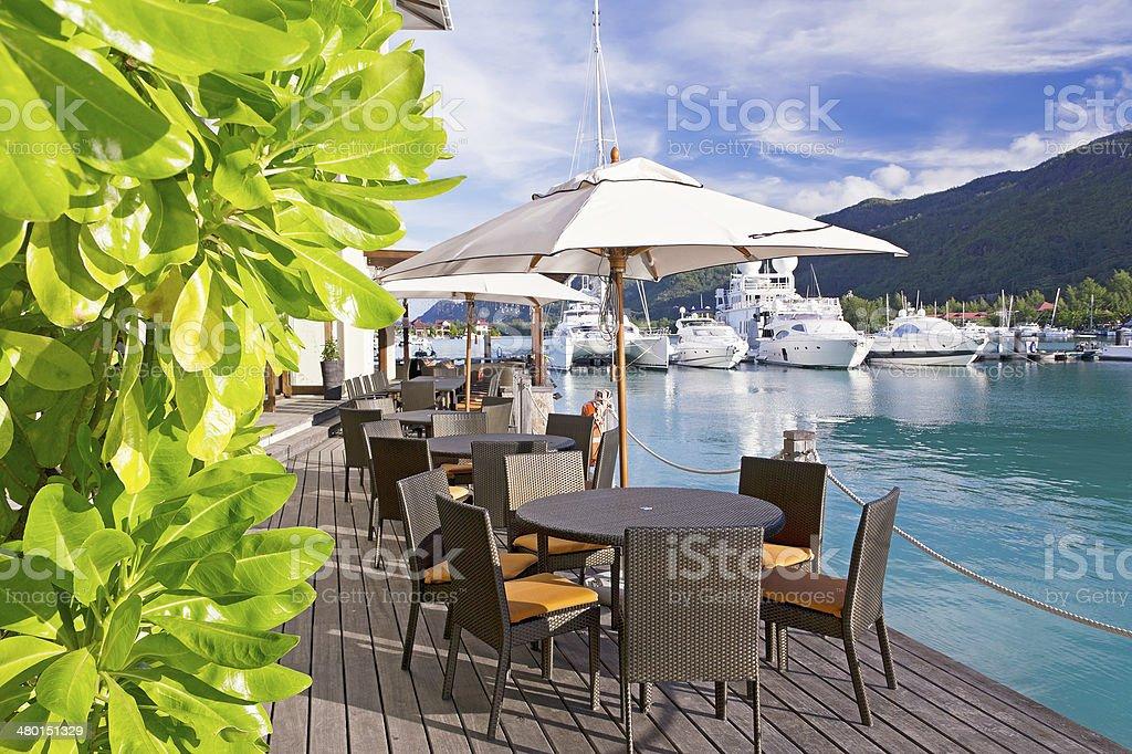 Cozy restaurant on decking stock photo