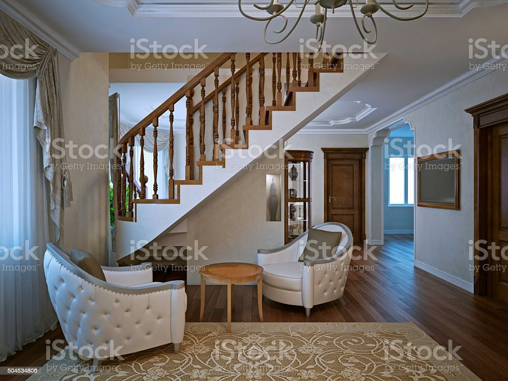 Cozy sitting place in spacy living stock photo