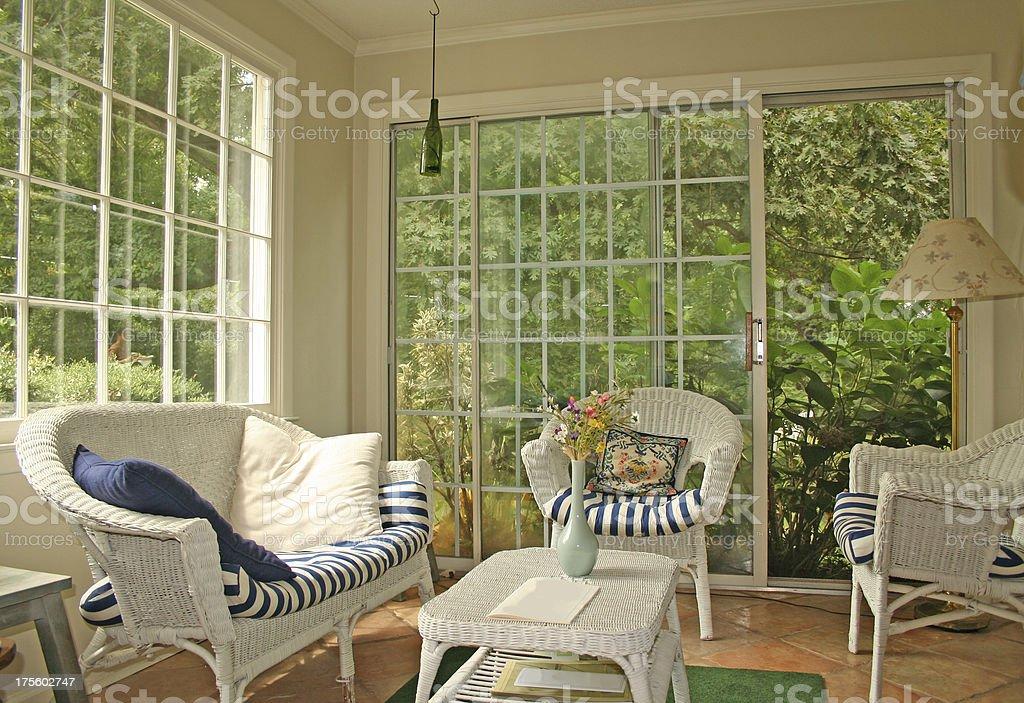 Cozy sunroom stock photo