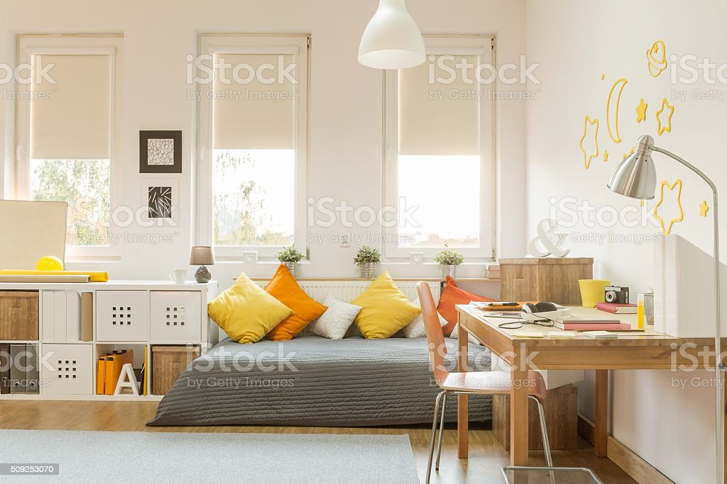 Cozy teen room stock photo