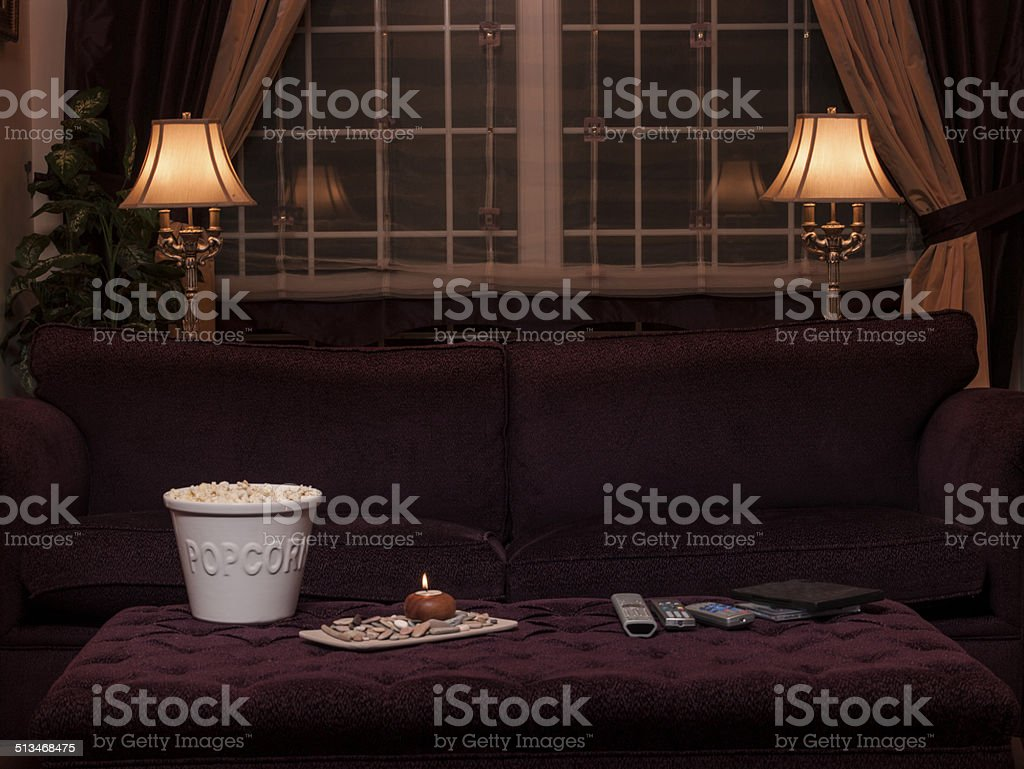 Cozy tv sofa stock photo