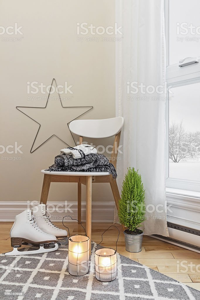 Cozy winter composition in a room stock photo