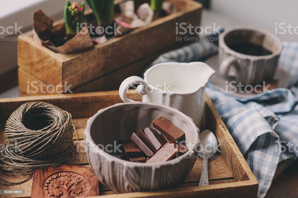 cozy winter morning at home. Coffee, milk and chocolate stock photo