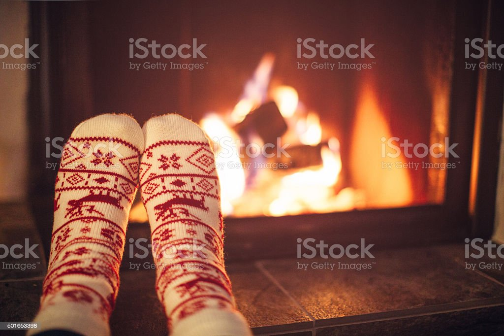 Cozy winter night. stock photo