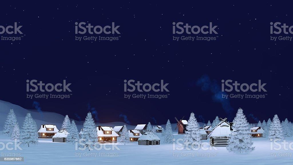 Cozy winter township under night sky stock photo