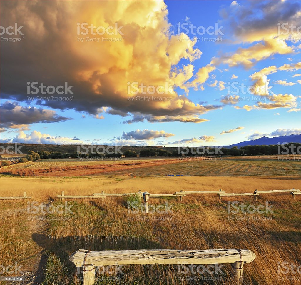Cozy wooden bench stock photo