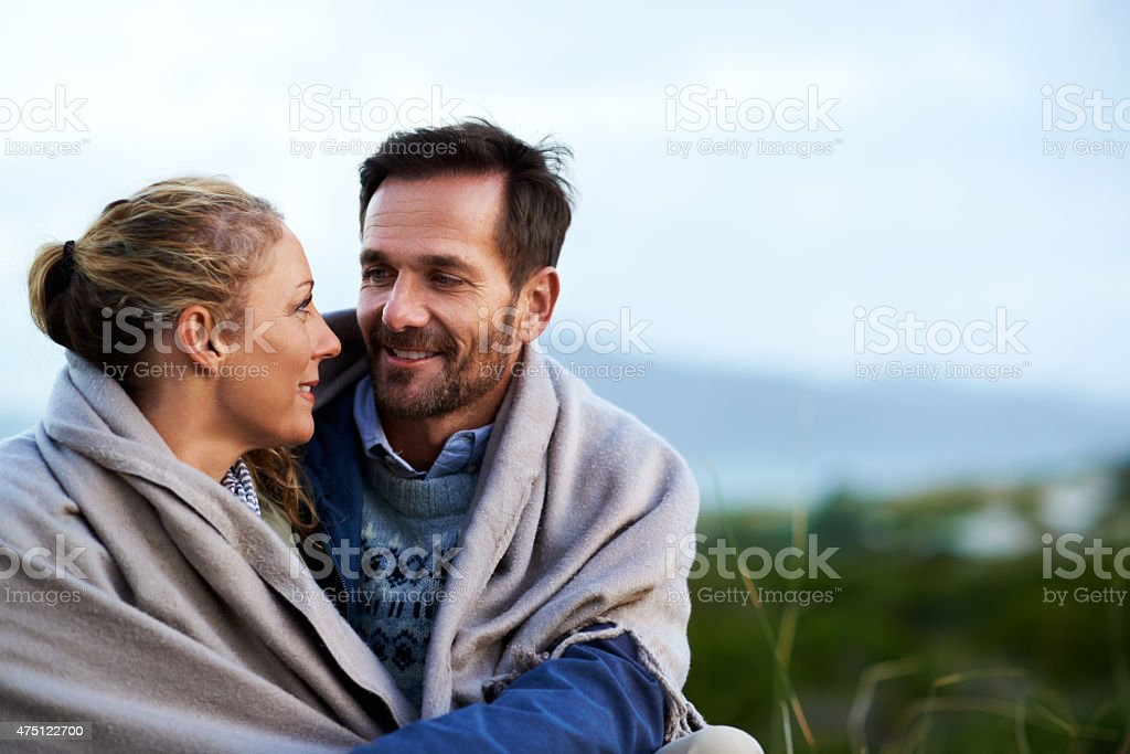 Cozying up on a cold morning stock photo