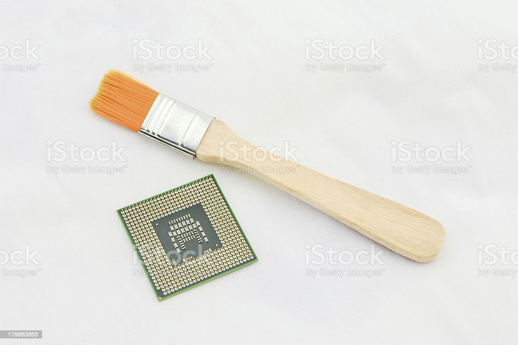 cpu and paint bush royalty-free stock photo