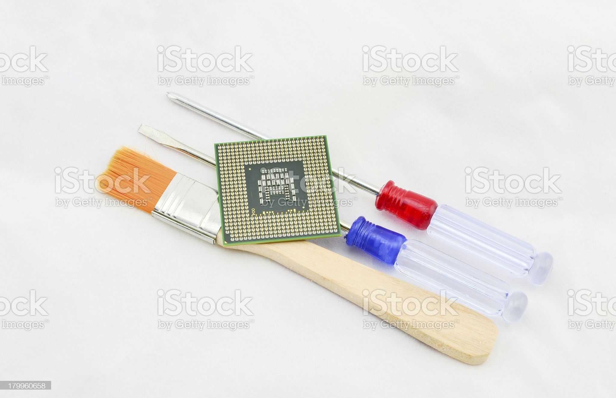 cpu and screwdriver royalty-free stock photo