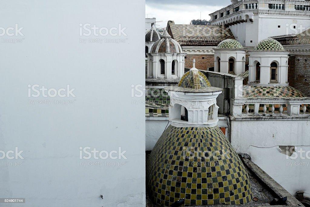 Cúpulas de la iglesia de El Sagrario de Quito stock photo