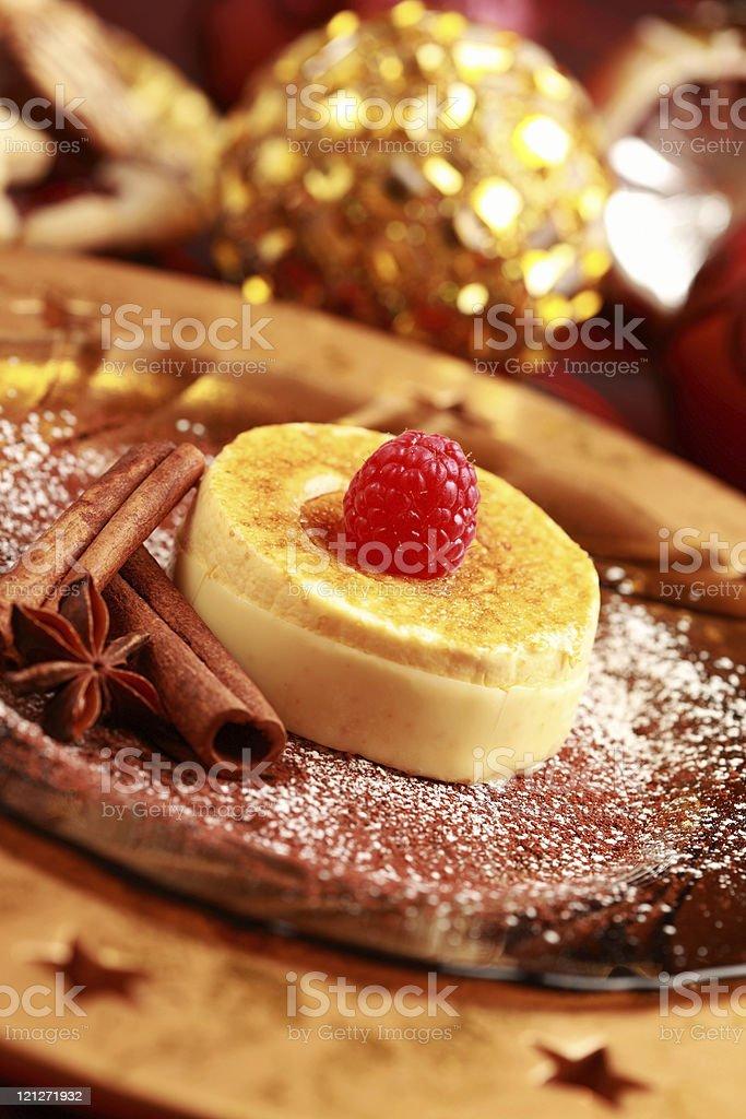 Crème brûlée for Christmas stock photo