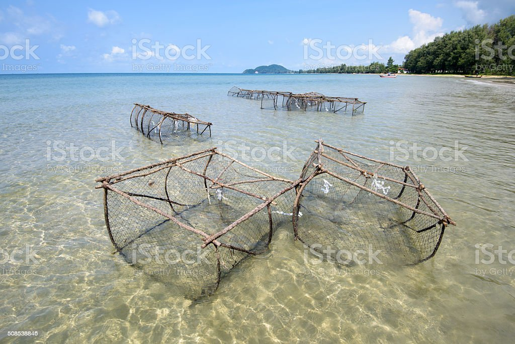 Crab and lobster fishing pots showing at low tide Asia stock photo