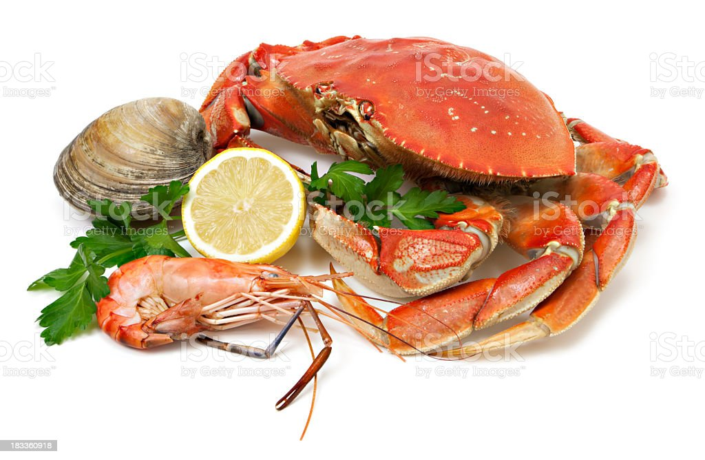 Crab and seafood stock photo