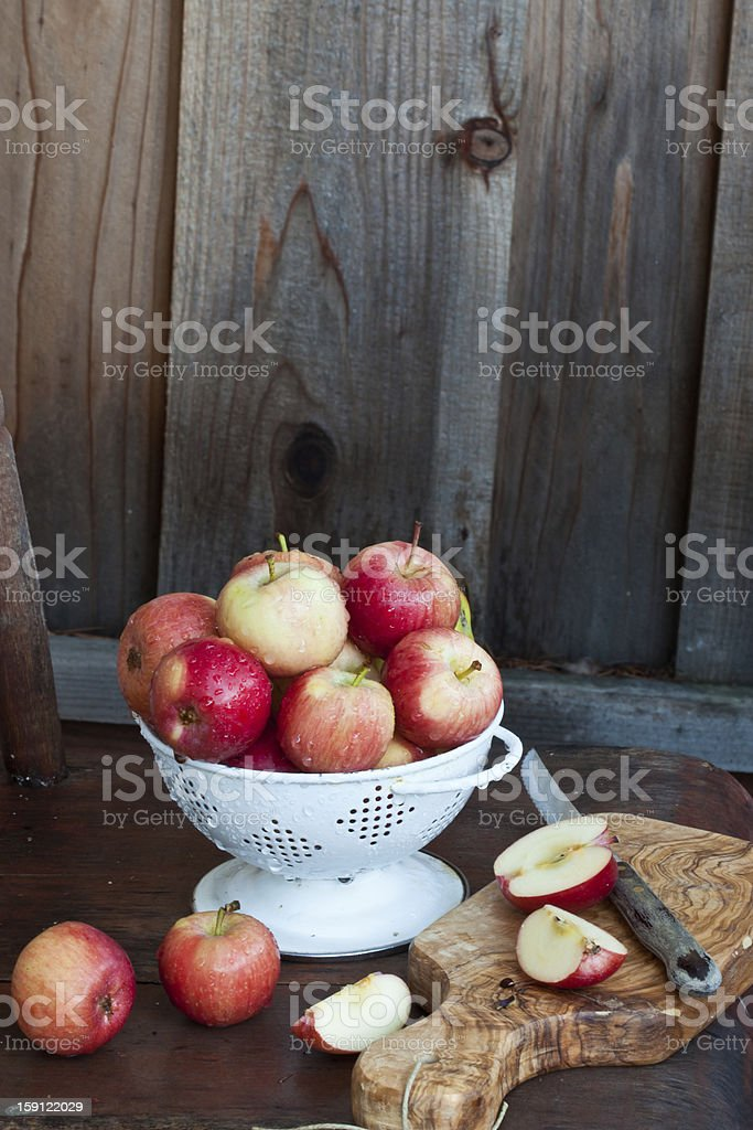 Crab apples in white colander royalty-free stock photo