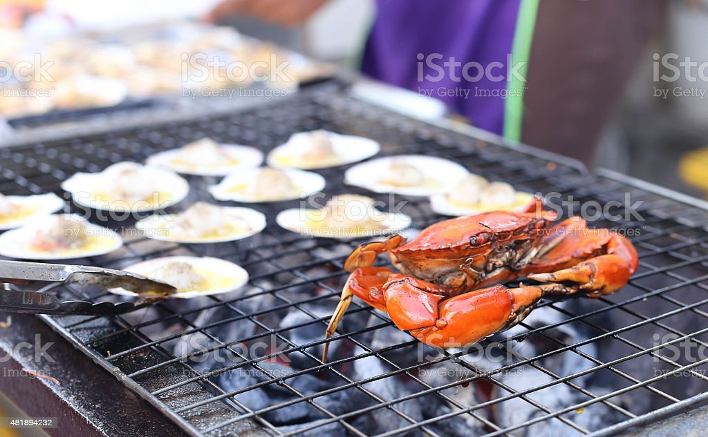 Crab Barbecue Grill cooking seafood background food barbecue stock photo